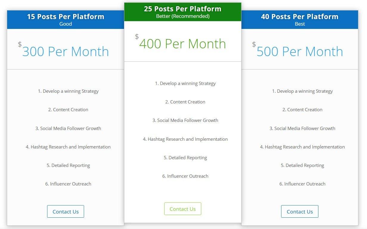 Social Media Pricing
