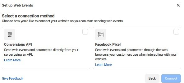 Set up Web Events for your Facebook Pixel